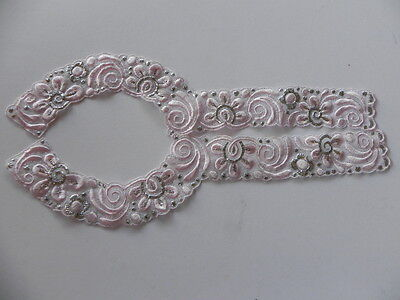 Embroidered Decorative Collar - Pink & Silver