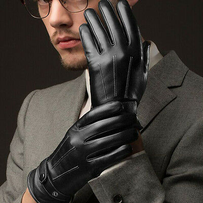 Fashion Men Black Winter Leather Motorcycle Full Finger Touch Screen Warm Gloves