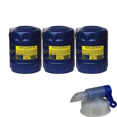 3X 20 Litre Mannol Hydro HV ISO 32 Hydraulic Oil HVLP 32 Oil Oil DIN 51524/3