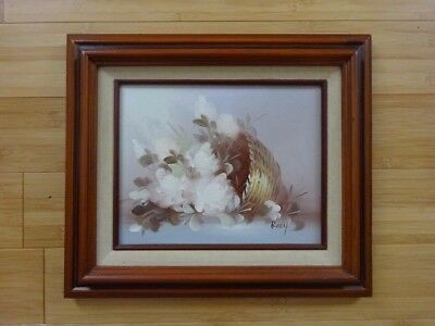 Bouquet Flowers Still Life Signed Oil Painting on Canvas Framed Art MOTHER`S DAY