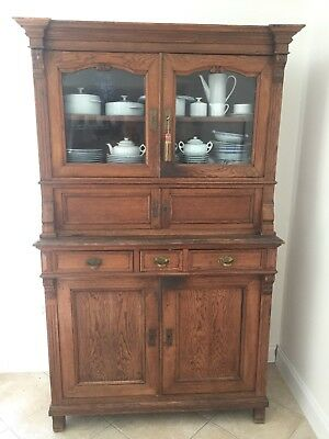 Antique 19th Century Solid European Oak Step Back Hoosier Cupboard Cabinet Hutch