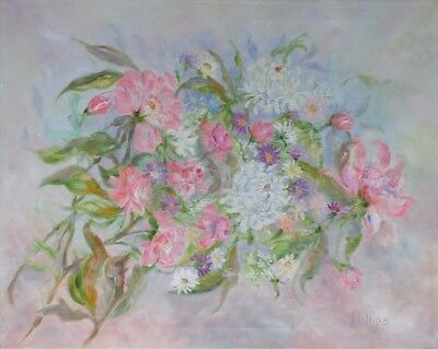 SPRING Flowers CHRISTMAS Signed Oil Canvas Painting Canvas Vintage Antique ART