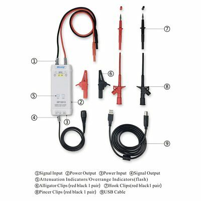 High Voltage Differential Probe kit Micsig DP10013 Oscilloscope 1300V 100MHz WG