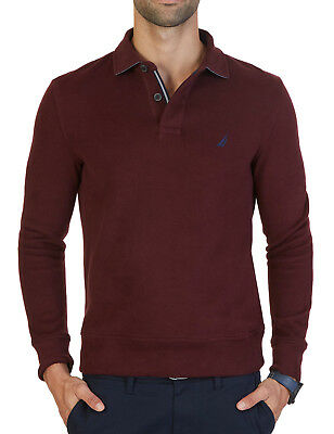 Mens Nautica Windward Long Sleeve Burgundy Classic Fit French Ribbed Polo Xl $79