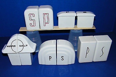 5 Sets Art Deco Kitchenware China S&P Shakers White Black Mushroom Arched Dome