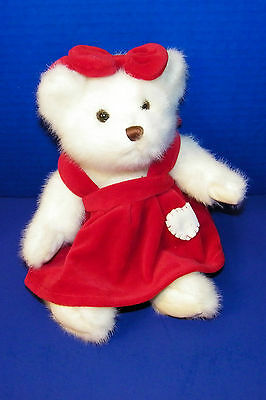 Jerry Elsner Plush Stuffed White w Red Dress w Heart Valentines Day Bear 10 1/2""