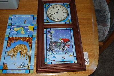 Comical Cats Stained Glass Clock 4 Seasons by Gary Patterson