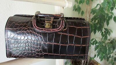 Upjohn Blackish Burgundy Croc Embossed Top Grain Cowhide Doctor Bag