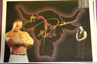 THE ROCK SMACK DOWN  HAND SIGNED WITH COA WWE WWF TNA WCW A4 Photo RAW