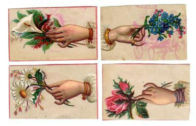 Four SINGER SEWING MACHINES TORONTO ONT CANADA Trade Cards HANDS HOLD FLOWERS