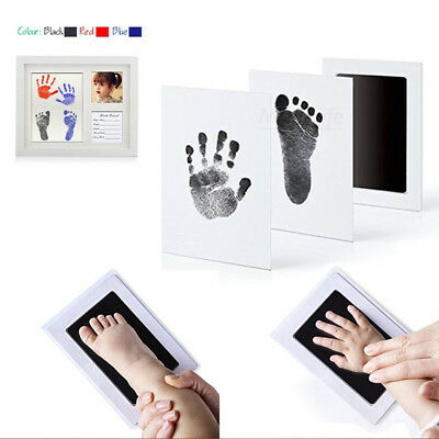 Baby Non-Toxic Keepsake Footprint Handprint Ink Pad Frame Touch Clean Inkless