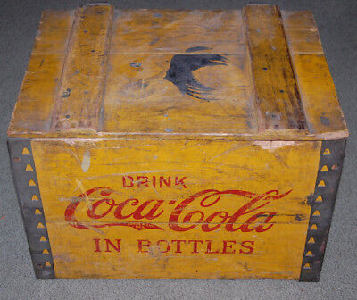 Vintage COCA COLA Yellow and Red Wood Bottle CARRIER CRATE with lid