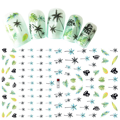 Coconut Tree Blue Nail Decals 3D Stickers Nail Stamping Coconut Summer Fashion