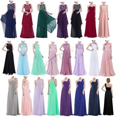 Women's Long Chiffon Evening Formal Party Cocktail Dress Bridesmaid Prom Gowns