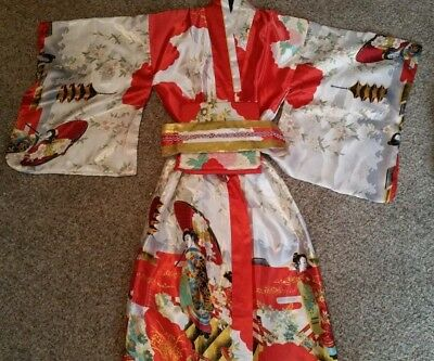 *NEW WITH TAGS* BEAUTIFUL Traditional Geisha Silk Kimono with Belt+Bow