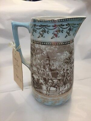 NEW blue white & gold french toile scene porcelain jug water flowers centerpiece