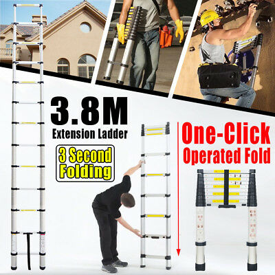 3.8M Aluminium Foldable Collapsible Retractable Multi-purpose Telescoping Ladder
