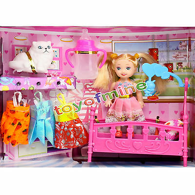 Fashion Pretty Princess On Bed Change Clothes Doll Toy Set For Disney