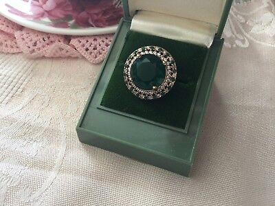 Antique Vintage Sterling Silver Ring Emerald Sapphires Gold Accents size 8 or Q