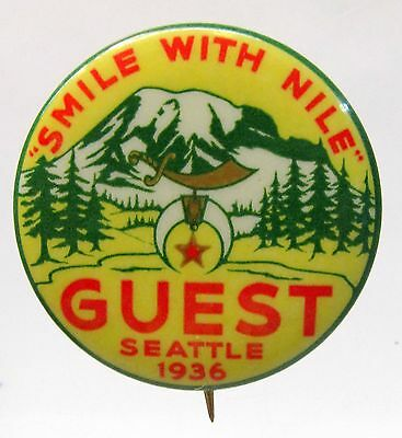 1936 SMILE WITH NILE Seattle Guest pinback button