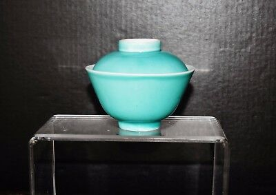 Chinese exported celadon turquoise glazed porcelain tea bowl with lid