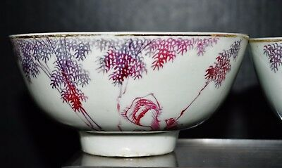 Antique Chinese Jingdezhen porcelain pair bowls fine painted pink red bamboo 釉里红