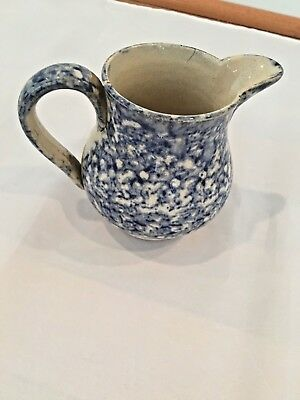 Early 1900's Sponge Ware Cream Pitcher/ Syrup, Blue W Applied Handle