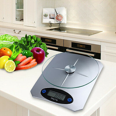 5Kg/11lbs x 1g/0.1oz Digital Kitchen Scale Glass Top Food Diet Scale Home AH