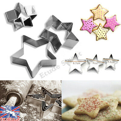 3 X Star Shape Cookie  Cutters Sugarcraft Decor Paste Biscuit Cake Mold Mould