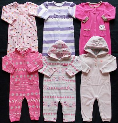 Baby Girl Sz 18 Months Fall Winter Fleece Jumpsuits Pajama Sleepwear Clothes Lot