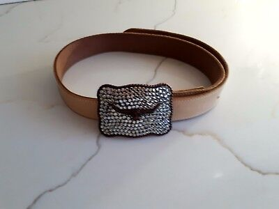 RM Williams Genuine Leather Belt & Diamante Buckle