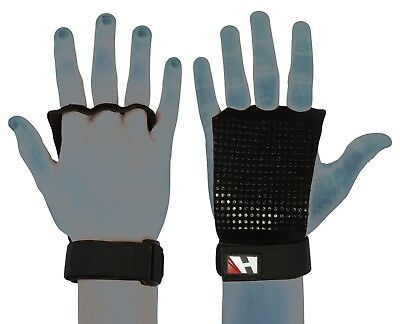 Grip Pads Leather Gym Gloves Fitness Strength Training Body Building Grips