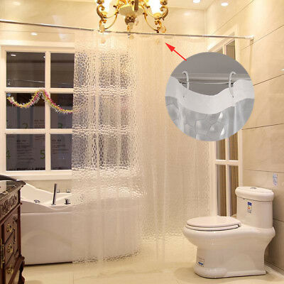 3D Long Shower Curtain Clear Plastic EVA Diamond Cube Thicker then PEVA 12 Hooks