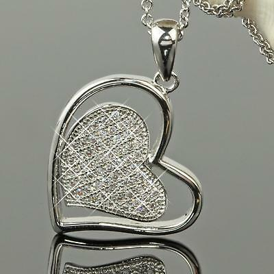 Set Women Necklace Heart Pendant Zirconia 750 White Gold 18 K Plated Silver