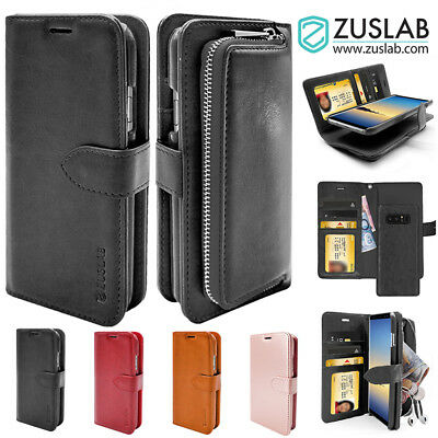 Galaxy Note 8 Case for Samsung ZUSLAB Detachable Zipper Leather Wallet Cover