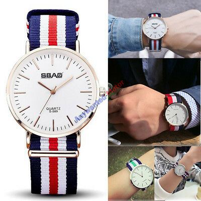 New Men and Women SBAO Fabric Nylon Canvas Band Military Dial Quartz Wrist Watch