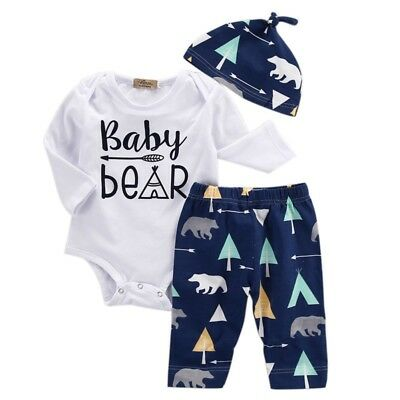 Newborn Baby Boy Bear Long Sleeve Tops Romper Pants Hat 3pcs Outfits Clothes Set