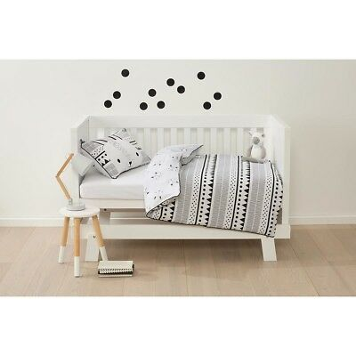 Cotton Cot Quilt Cove Set Baby Boy Girl Bedding Bed White Black Bunny Hop