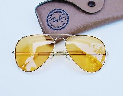 Vintage B&L Ray Ban USA  Changeable Ambermatic 58mm Aviator Sunglasses w/Case