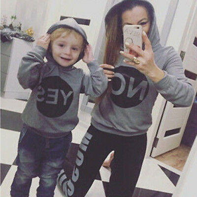 Mother Son Hoodie Sweatshirt Family Matching Clothes Women Boy Hooded Coat