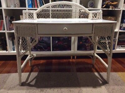 Cane and timber white desk / dressing table