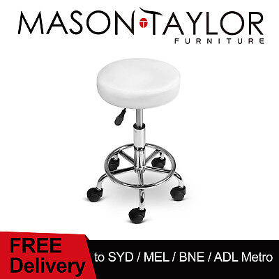 Mason Taylor Round PU Swivel Salon Stool Salon Hairdressing Styling - White