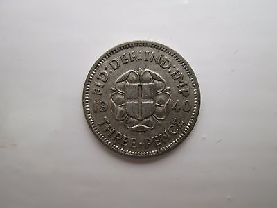 1940 George VI Silver Threepence Coin