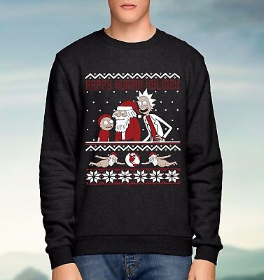Rick and Morty Happy Human Holiday Ugly Christmas Jumper Sweater Mens Unisex