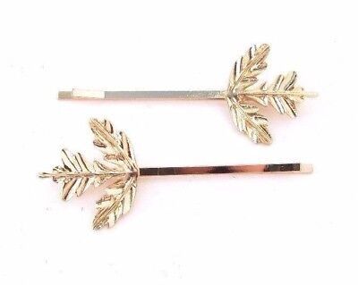 2 x Gold Thistle Leaf Hair Grips Bridal Scottish Wedding Clip Set Bobby Pin 3982