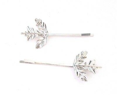 2 Silver Thistle Leaf Hair Grips Bridal Scottish Wedding Clip Set Bobby Pin 3983