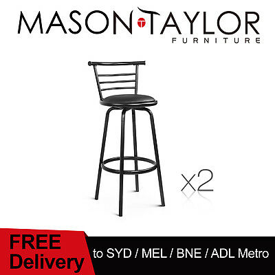 Mason Taylor 2x Bar Stools PU Leather Barstool Swivel Backrest Kitchen Chairs AU