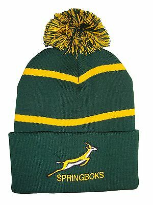 South Africa Springbok Rugby Bobble Hat  - Pinstripe