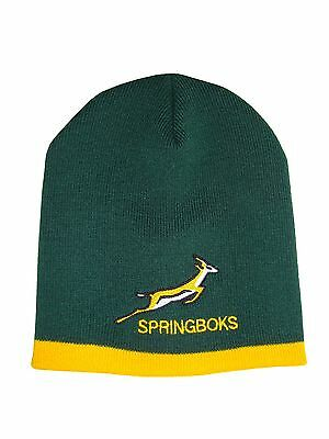 South Africa Springbok Rugby Green and Gold Stripe Beanie Hat
