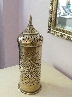Vintage Brass Indian? Oriental, Eastern very ornate candle lamp / burner